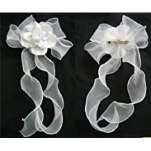 White Flower Girl Communion Wedding Veil Satin Flower Headpiece