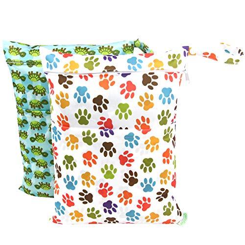 Wegreeco 2 Pack Premium Wet Bag,Baby Wet Dry Cloth Diaper Ba