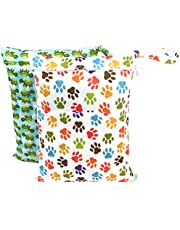 Wegreeco 2 Pack Premium Wet Bag,Baby Wet Dry Cloth Diaper Bags, Waterproof Reusable Wet Bags for Swimsuits, Wet Clothes,Soiled Baby Items with 2 Zipper Pockets Size (Turtle and Paw Prints)