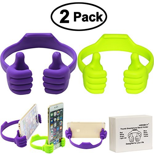 Honsky Thumbs-up Phone Stand for Tablets, E-readers and Smart Phones - 2 Pack - Green, Purple (Car Mount For Nokia Lumia 1520)