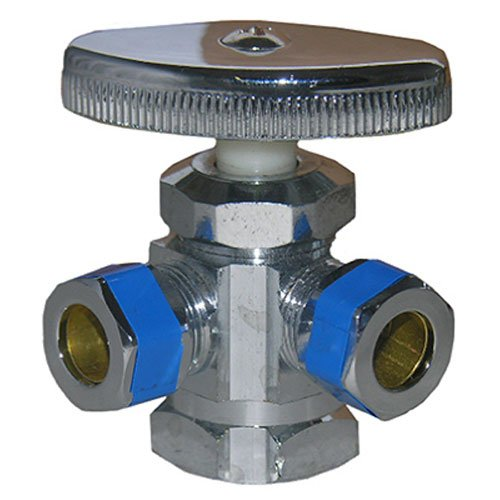 LASCO 06-7321 Dual Outlet Valve, 1/2-Inch Iron Pipe Inlet X 3/8-Inch Compression Outlet X 3/8-Inch Compression Outlet, Chrome