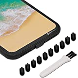 PortPlugs - Anti Dust Plugs for iPhone 7, 8 Plus, X (10 Pack) - Port Cleaning Brush Included - Low Profile Lightning Port Covers