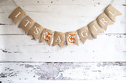 Woodland Baby Shower Decoration, It's A Girl Fox Banner, Gender - Girl Swanky