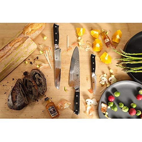 KYOKU Daimyo Series, 3-Piece Knife Block Set - Japanese VG10 Steel Damascus Blade - 8'' Chef Knife & 8'' Bread Knife & 3.5'' Paring Knife & Magnetic Bamboo Block    by KYOKU (Image #5)