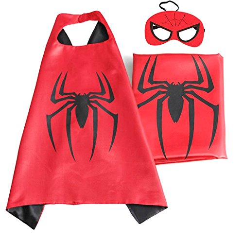 [Superhero or Princess CAPE & MASK Set Kids Childrens Halloween Costume (Black & Red Spiderman)] (Halloween Princess Costumes For Kids)