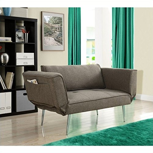 Novogratz Leyla Loveseat, Multifunctional and Modern Design, Adjustable Armrests to Create a Couch Sleeper -Grey (Couches Size Apartment)