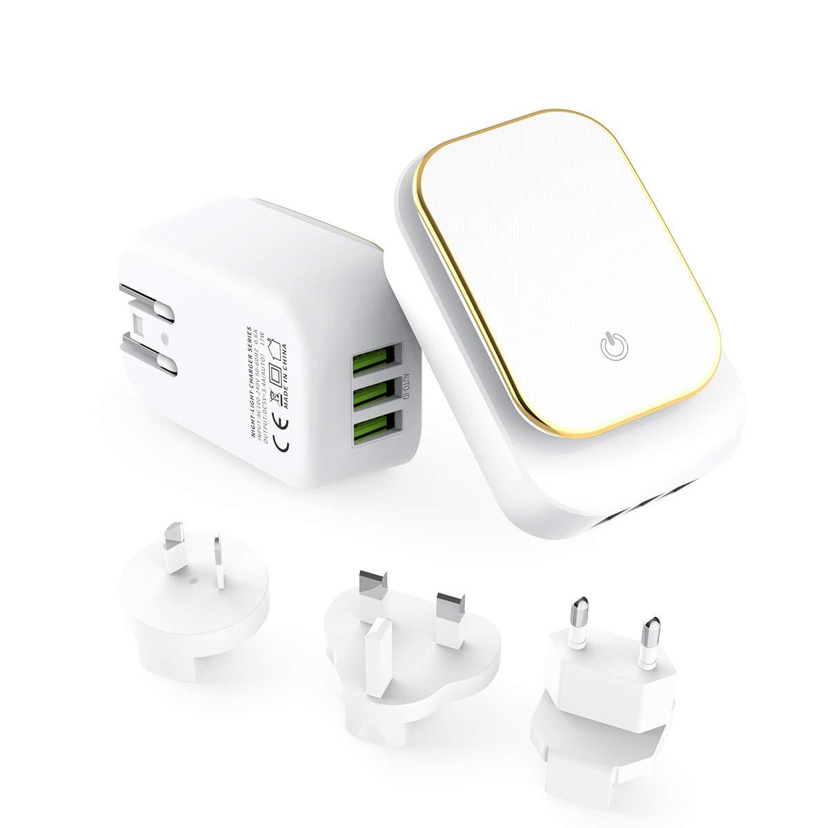 MeihuaTu Chargeur USB Secteur Universel 3 Ports avec Lampe Torche LED Secteur Mural Chargeur avec Adaptateur UK//AU//EU//US Compatible avec t/él/éphones intelligents,Kindle,etc Blanc