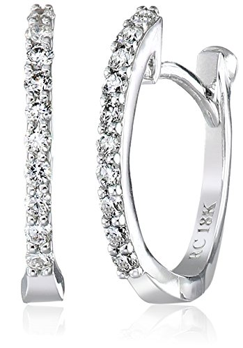 deb8019ea Roberto Coin Perfect Diamond 18k White Gold Huggy Hoop Earrings (1/5cttw,  G-H