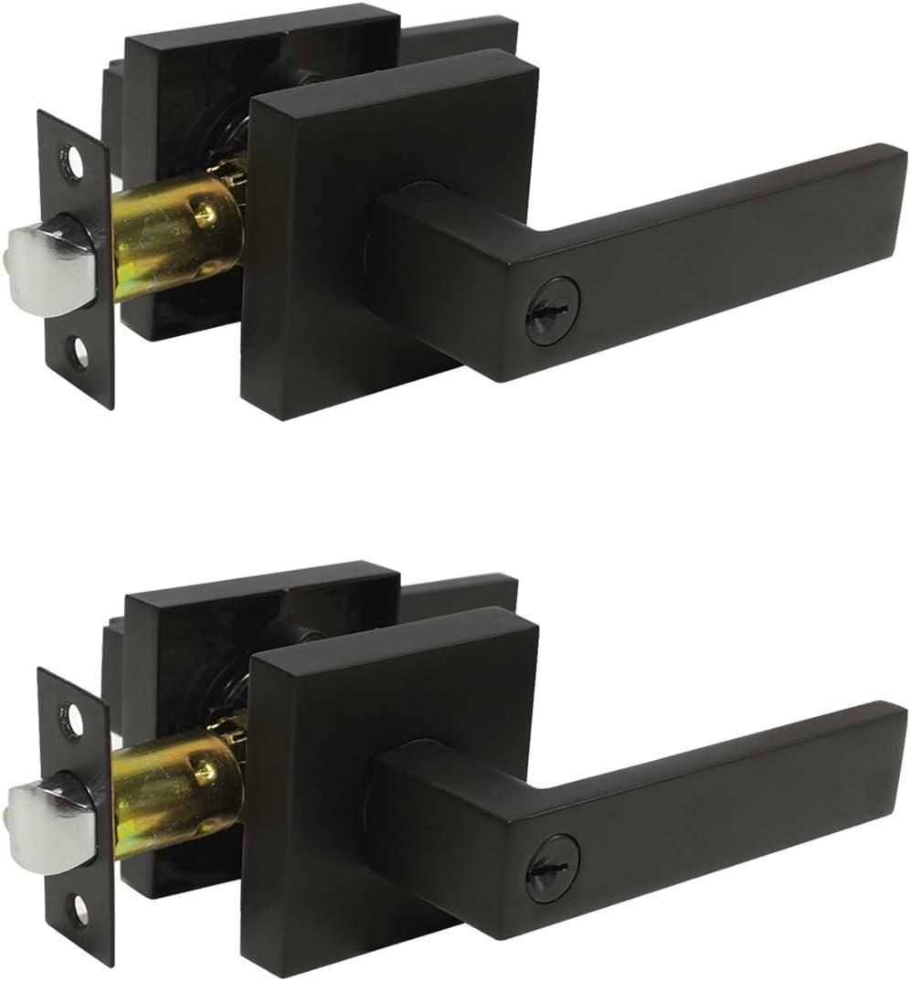 Probrico 2 Pack Black Entry Knob Combo Pack Keyed Alike Heavy Duty Entrance Door Lever Exterior Lockset Contemporary Style Modern Front Door Hardware Amazon Com