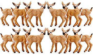 RESTCLOUD 12 Pcs Deer Figurines Cake Toppers, Deer Toys Figure, Small Woodland Animals Set of 12 Fawn