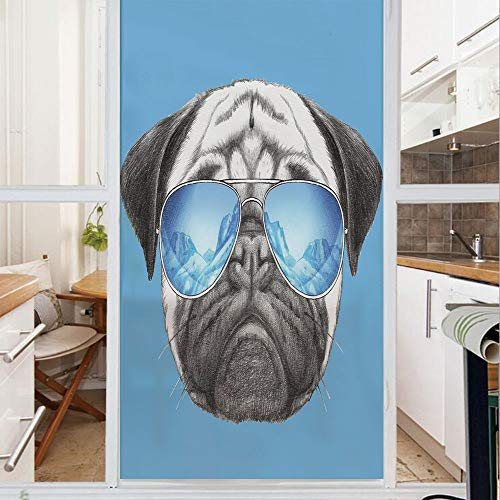 (Decorative Window Film,No Glue Frosted Privacy Film,Stained Glass Door Film,Pug Portrait with Mirror Sunglasses Hand Drawn Illustration of Pet Animal Funny,for Home & Office,23.6In. by 59In Pearl Blue)