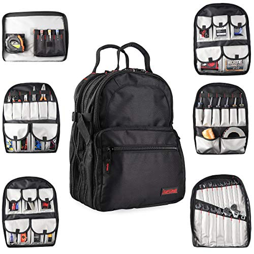 Tool Storage Backpack Organizer: Heavy Duty Jobsite Bag - Toolbox Backpack for Construction work, Electrician, HVAC, Prime Contractor, Handyman - 50+ Pockets for Multiple Tools - Black