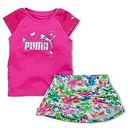 PUMA Little Girls' Toddler Tee and Skort Set, Orange Pop, 4T