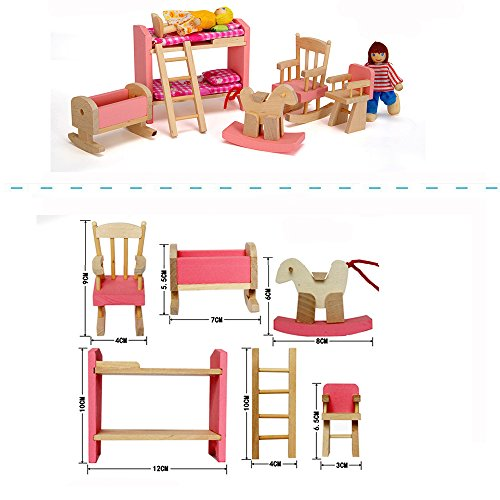 Wood Family Furniture ~ Wood family doll dollhouse furniture set pink miniature