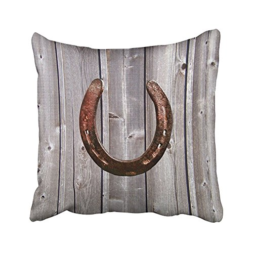 SPXUBZ Wood Pillows Country Western Lucky Horseshoe Rustic Wood Pillow Cotton Polyesterwith Hidden Zipper Decorative Home Decor Square Indoor/Outdoor Throw Pillowcase Size: 20X20 Inch(Two Sides)