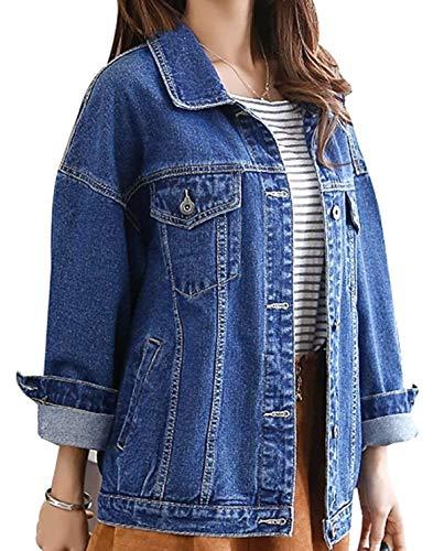 Tendenza Giacca Relaxed Giovane Style Primaverile Stile Festa Casual Bavero Lunghe 04 Blau Donna Outwear Moda Jeans Elegante Ragazze Cappotto Streetwear Autunno Maniche Blu PqwZPdf