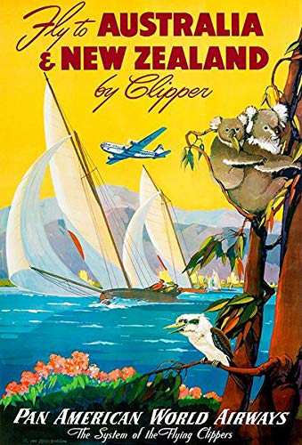 Australia & New Zealand by Clipper - 1950's - Pan American Airways Travel Poster ()