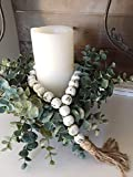 White Farmhouse Decor Wood Bead Garland Home Decoration Accent Gift