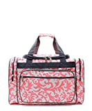 Damask Floral Canvas Large 20'' Duffel Weekender Bag Pink