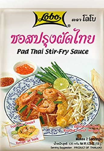 Pad Thai Stir-fry Sauce with Roasted Peanut Included, Thai Noodle Sauce, Lobo Cooking Food, 120 G / 4.23 Oz