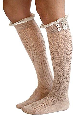 Zando Women's Comfy Original Button Boot Socks with Lace Trim Boutique Socks Khaki (Adult Cheer Bear Dress)