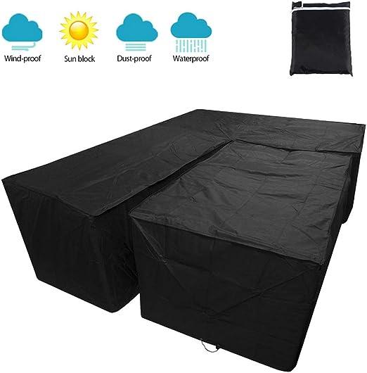 Yous Auto Juego de Forma de L de Funda Protectora para El SofÁ De La Esquina Muebles para Mesa De Jardin Exterior Impermeable Anti-UV (Negro 215X215X87cm+155x95x68cm): Amazon.es: Jardín
