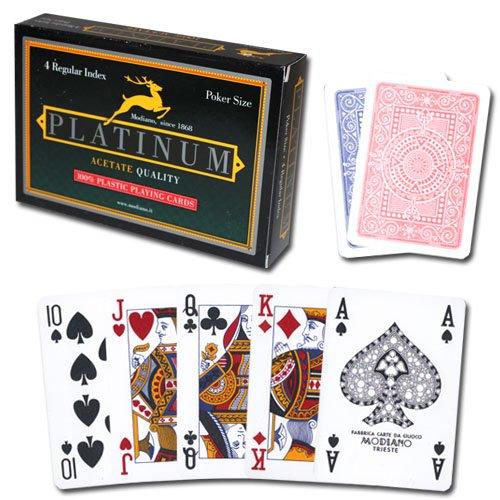 Modiano Platinum Acetate 100% Plastic Playing Card 2-Deck Set - Includes 2 Bonus Cut Cards! (4 - Acetate 100