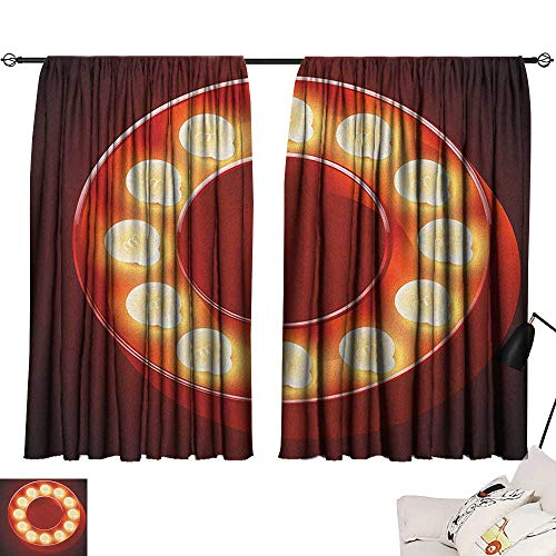 (Warm Family Letter O Blackout Curtains Entertainment World in Vegas Theme Vintage Casino Nightclub Theater Typeset Suitable for Bedroom Living Room Study, etc.55 Wx45 L Ruby Yellow Black)