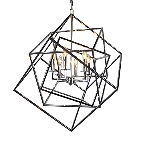 Y Decor LZ20812-6CH Modern, Transitional, Traditional 6 Light Square Modern Chandelier In Polished Chrome Finish, , Chrome, Silver For Sale