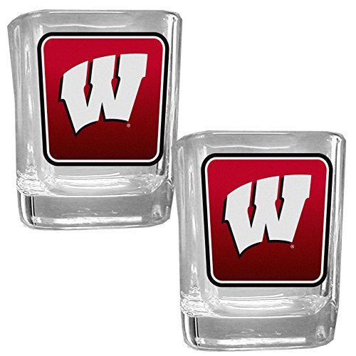 (NCAA Wisconsin Badgers Square Glass Shot Glass Set)