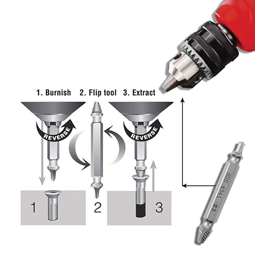Its A HassleFree Broken Bolt Extractor and Screw Remover Set Made From H.S.S 4341 With Hardness 63-65hrc. Damaged Screw Extractor Kit and Stripped Screw Extractor Set