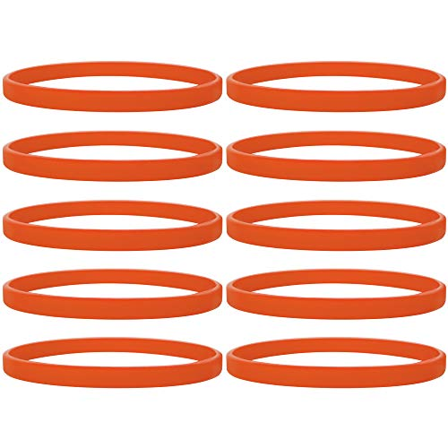 GOGO 100 Pcs Thin Silicone Wristbands, Rubber Bracelets, Party Favors-Orange