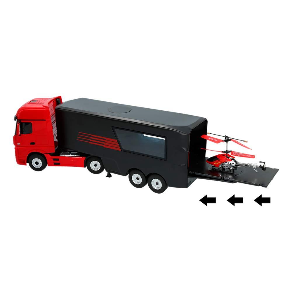 bunt Ma/ßstab 1:26 in rot Rastar RC Truck Mercedes Benz mit Hubschrauber ColorBaby 85337