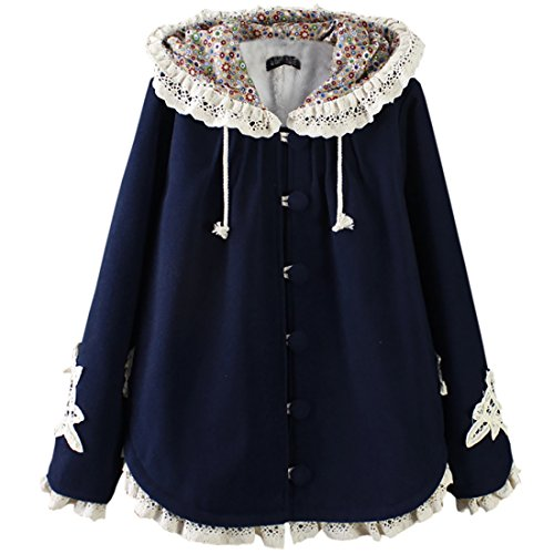 Partiss Women's Sweet Lolita Lace Hoodie Cloak, One Size, Blue (Lolita Clothing)