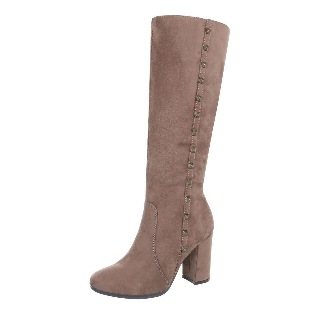 Ital-Design Klassische Stiefel Damenschuhe Klassische Stiefel Pump High Heels Reißverschluss Stiefel  40 EU|Hellbraun