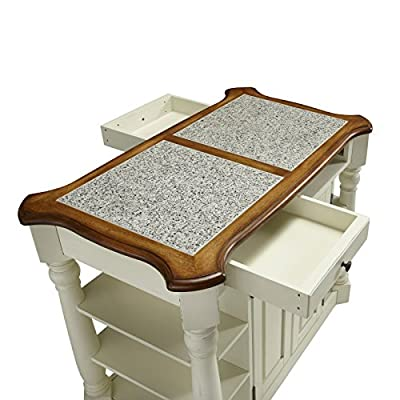 Home Styles Americana Granite Kitchen Island - Oak & White
