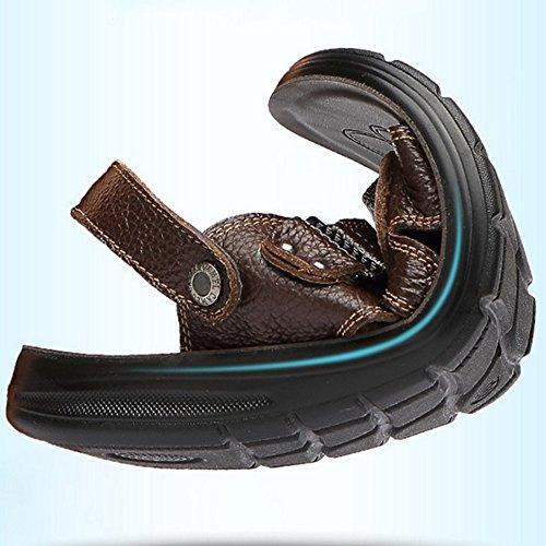 Cuero Abierta Interior y Zapatos Sandalias Zapatos para para Brown con Ocio de Cómodos Ajustables Exterior adecuados Deportes Punta de Hombres Antideslizantes gTEpqX