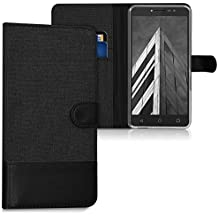kwmobile Wallet case canvas cover for Alcatel A3 XL - Flip case with card slot and stand in anthracite black