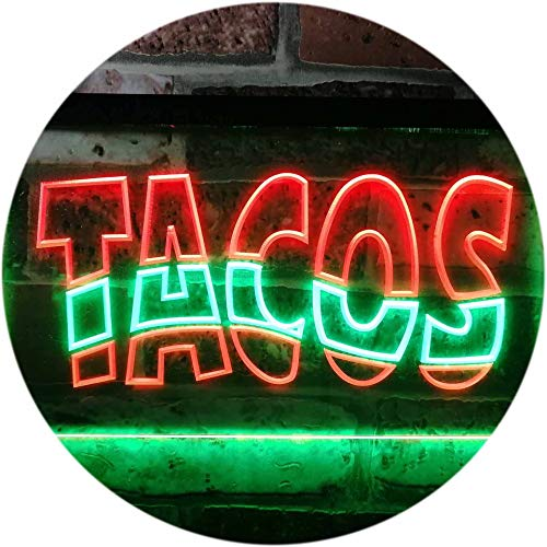 ADVPRO Mexican Tacos Restaurant Bar Dual Color LED Neon Sign Green & Red 16 x 12 Inches st6s43-i0093-gr ()
