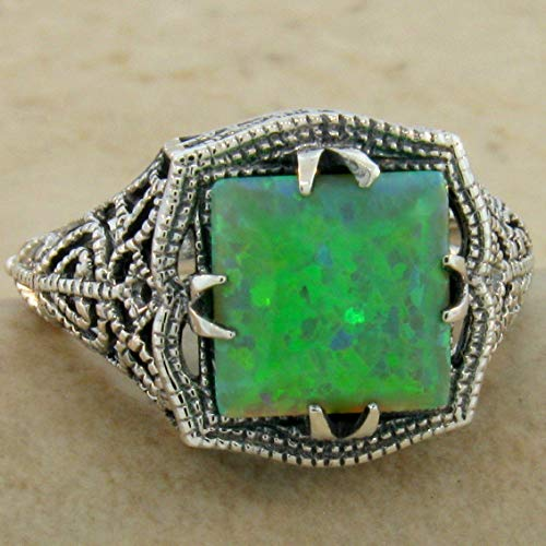 Antique Filigree Style SYN. Green Opal 925 Sterling Silver Ring Size 9 KN-4068