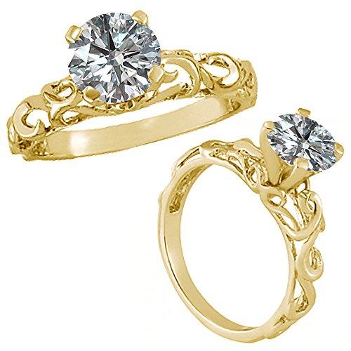 Vintage Diamond Solitaire (0.75 Carat G-H Diamond Fancy Design Solitaire Vintage Anniversary Bridal Ring 14K Yellow Gold)