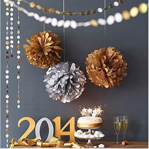 (10) Doré Siilver mixtes Taille papier de soie pompons lanternes Décorations