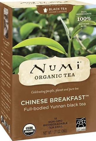 Numi Organic Tea Chinese Breakfast, Full Leaf Black Tea, 18 Count Tea Bags (Pack of 3) - Numi Black Organic Tea