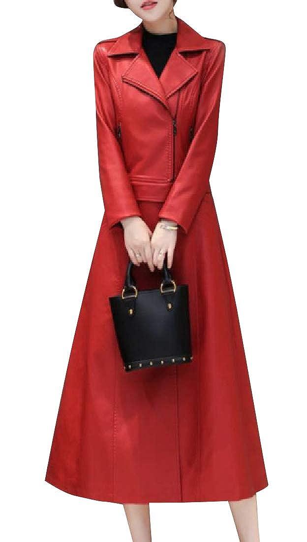 YUNY Women Windproof Detachable Full Length Pu Leather Duster Coat 1 2XL