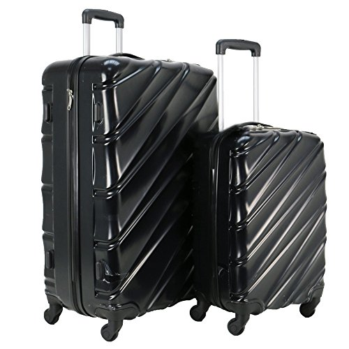 Swiss Case 4 Wheel Spinner Wave 2Pc Strong ABS Suitcase/Luggage Set Black