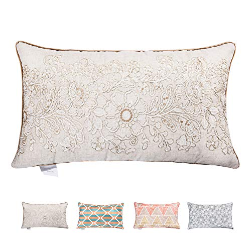 Hahadidi Throw Pillow Covers for Couch/Bed/Sofa Home Decorative Cushion Cases Flower Crewel Embroidery Pillowcases,European Geometric Cotton Canvas,Nature Color,14 x 24 Inch