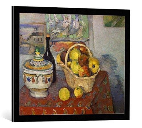 kunst für alle Framed Art Print: Paul Cézanne Stilleben mit Obstkorb und Suppenterrine - Decorative Fine Art Poster, Picture with Frame, 27.6x21.7 inch / 70x55 cm, Black/Edge Grey