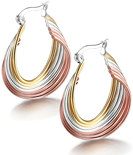 (Jstyle Jewelry Women's Tri-color Surgical Stainless Steel Twist Hoop Earrings (21mm Diameter))