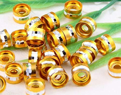 Aluminum Cut Diamond Beads - 100Pcs 8Color-1Or Mixed Diamond Cut Aluminum Rondelle Spacer Bead 6x4mm HoleпјС2mm (Main Color - Yellow)
