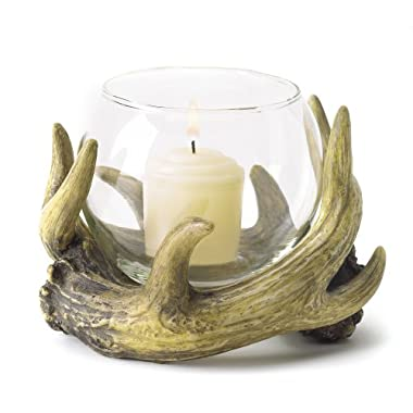 Gifts & Decor Rustic Antler Country Cabin Hunters Lodge Candleholder
